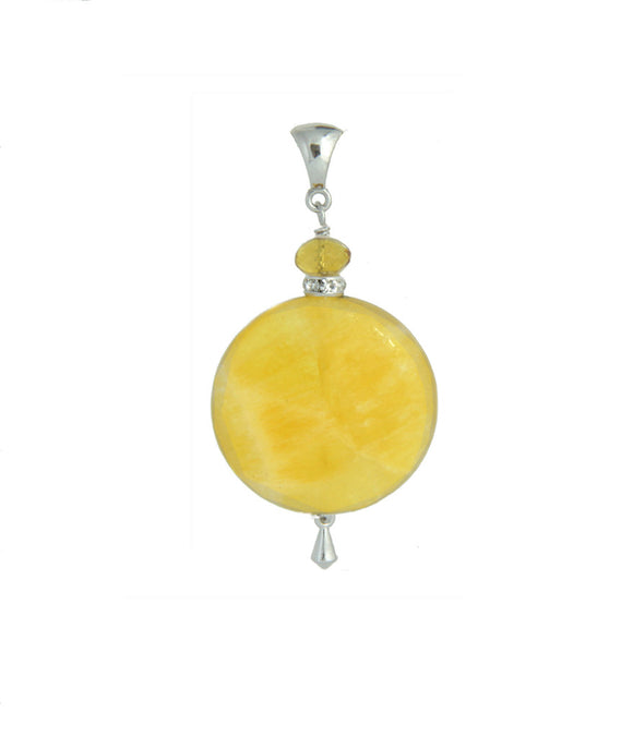Yellow Calcite & AA Citrine Pendant - Core Chakra