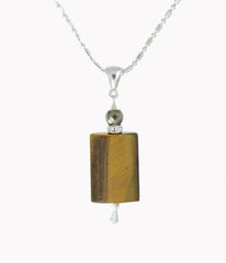 Tiger Eye & Golden Pyrite Necklace - Core Chakra