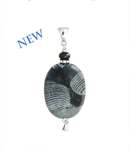 Etched Agate and Black Spinel Pendant for Root Chakra