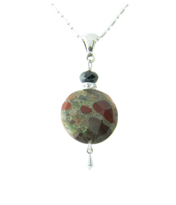 Spotted Jasper and Black Spinel Necklace for Root Chakra