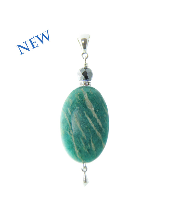 Russian Amazonite and Hematite Pendant for Heart Chakra