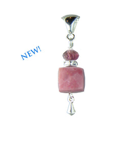 Rhodonite and Tourmaline Pendant for heart chakra