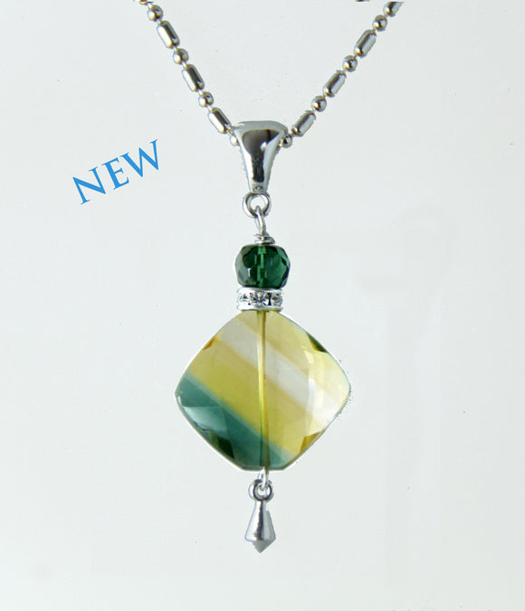Bi-Color Quartz and Green Quartz Necklace for Core Chakra