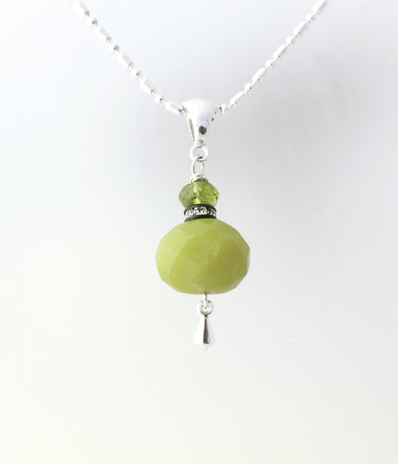 Olive Jade and Peridot Necklace for Heart Chakra