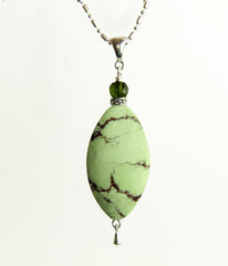 Lemon Chrysoprase and Tourmaline Necklace for Heart Chakra