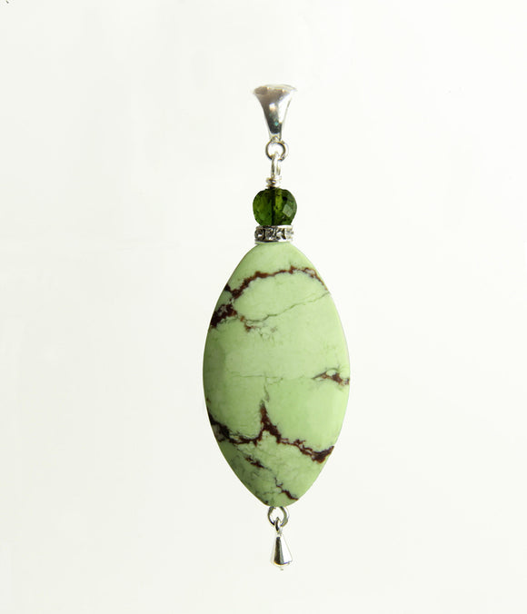 Lemon Chrysoprase and Tourmaline Pendant for Heart Chakra