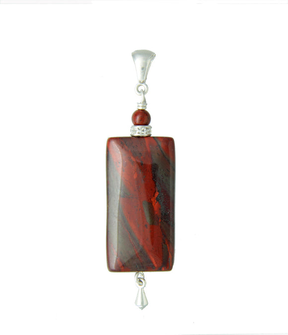 Red Jasper Rectangle Pendant - root chakra pendant