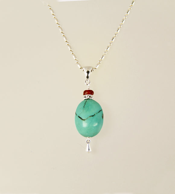 Turquoise Egg and Carnelian necklace
