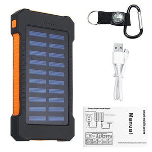 30000mah Solar powered On-the-Go Charger Power Bank W/ Compasses and LED Light