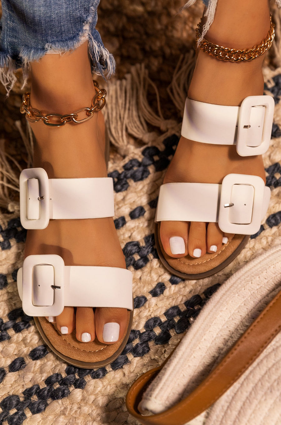 Lydia Double Buckle Sandals- White