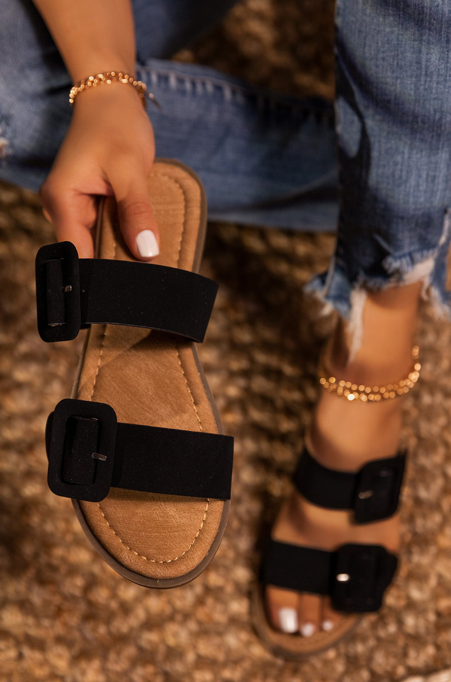 Lydia Double Buckle Sandals- Black