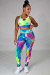 Two Piece Multi Color Legging Set