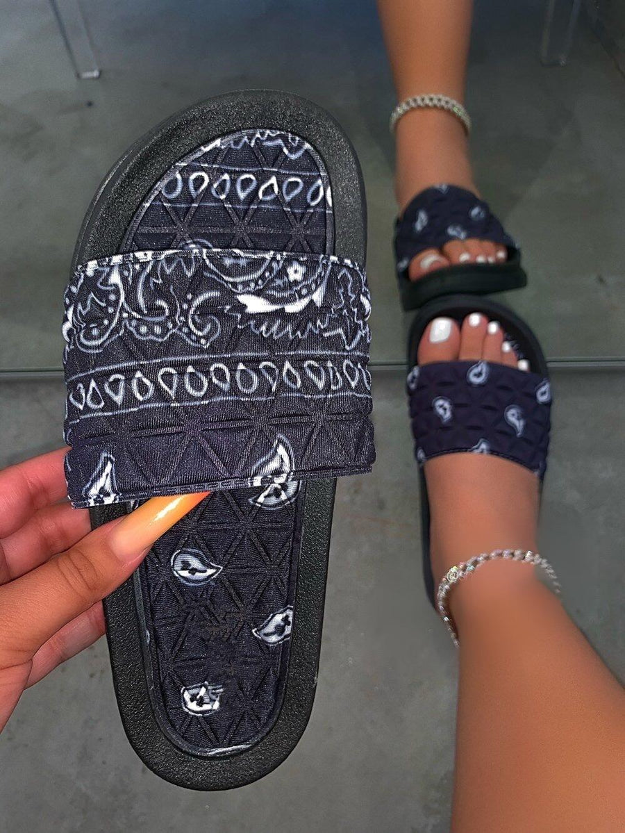 Antoinette Bandana Slides-Black - Atlanta Shoe Studio