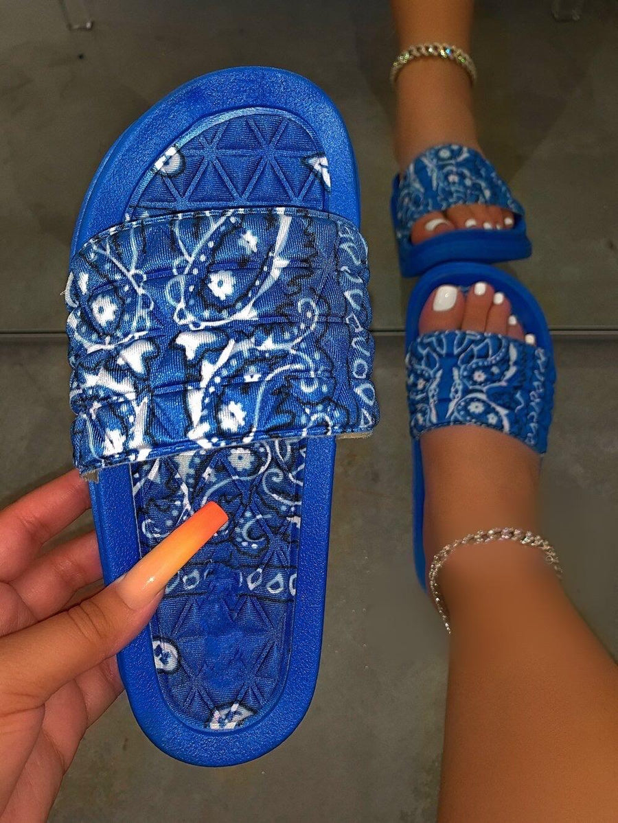 Antoinette Bandana Slides- Blue - Atlanta Shoe Studio