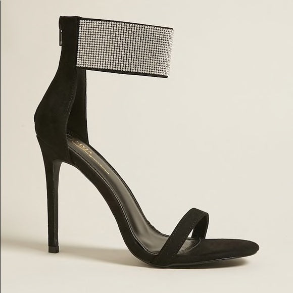 Black Heels with Rhinestone Ankle Strap - Atlanta Shoe Studio