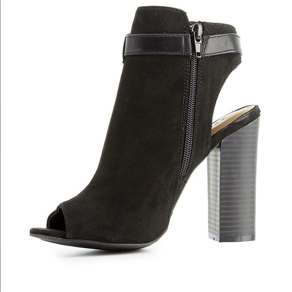 Peggy Peep Toe Belted Ankle Booties- Black