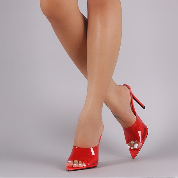 Sophia Red Pointy front Mules