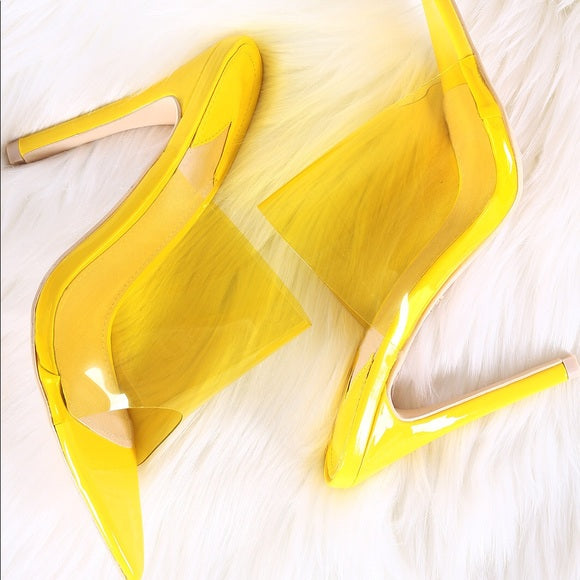 Yellow Clear Mules - Atlanta Shoe Studio