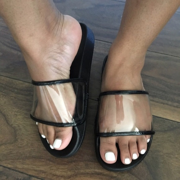 Beach Black Clear Slides
