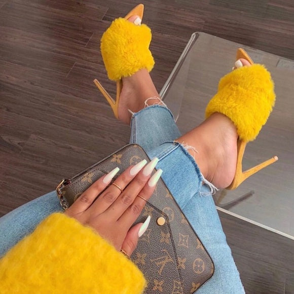 Yellow Fur Stiletto Mules.