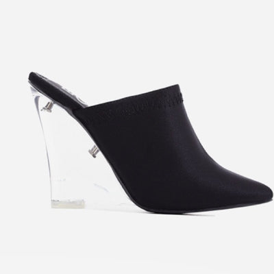Black Lycra Wedge Heel Mules - Atlanta Shoe Studio