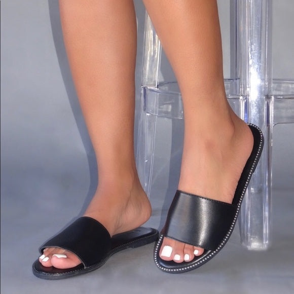 Blair Rhinestone Trim Slides- Black - Atlanta Shoe Studio