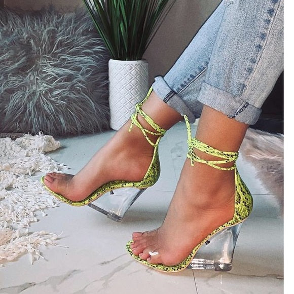 Lorna- Lime Snake Wedge Heels