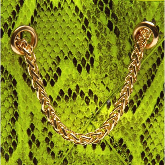 Cristina  Snakeskin Bag-Lime - Atlanta Shoe Studio