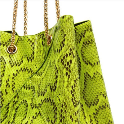 Cristina  Snakeskin Bag-Lime