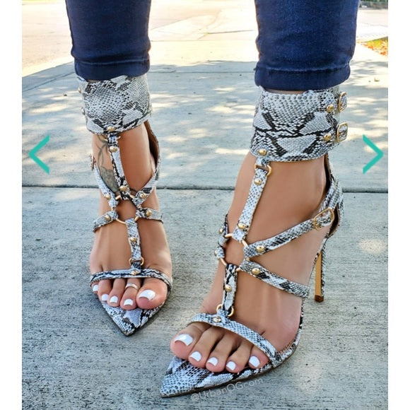 Stacey Snake Heels