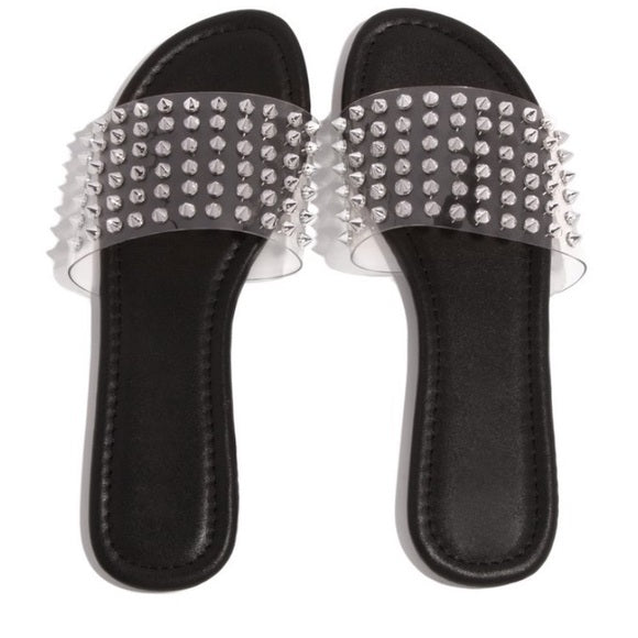 Allahna Spike Sandal-Clear - Atlanta Shoe Studio