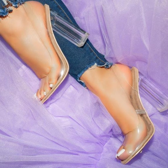 Milani Clear Sling Back Heels-Nude - Atlanta Shoe Studio