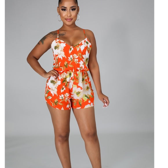 Orange Floral Romper - Atlanta Shoe Studio