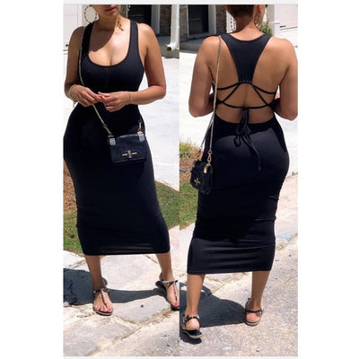 Scoop Neck Strappy Back Maxi Dress- Black - Atlanta Shoe Studio
