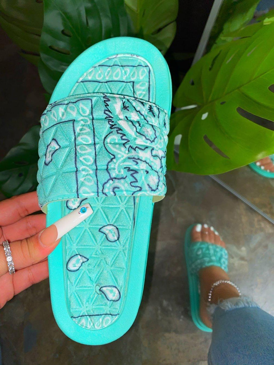 Antoinette Bandana Slides-Mint - Atlanta Shoe Studio