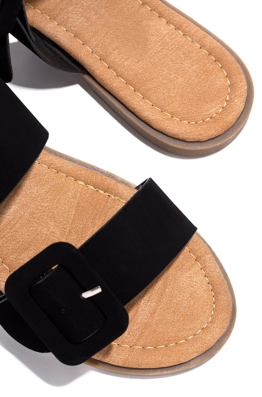 Lydia Double Buckle Sandals- Black - Atlanta Shoe Studio