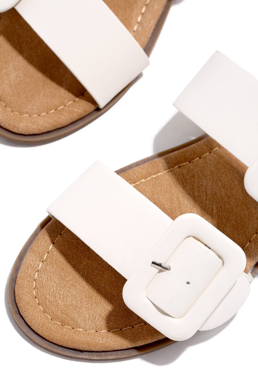 Lydia Double Buckle Sandals- White - Atlanta Shoe Studio