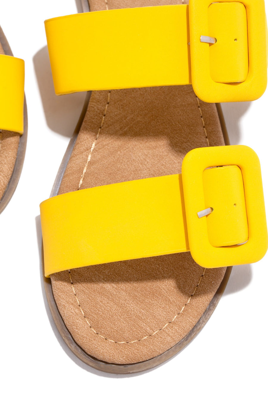 Lydia Double Buckle Sandals- Yellow - Atlanta Shoe Studio