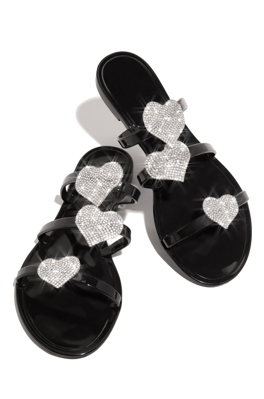 Jessica Heart Sandals- Black - Atlanta Shoe Studio