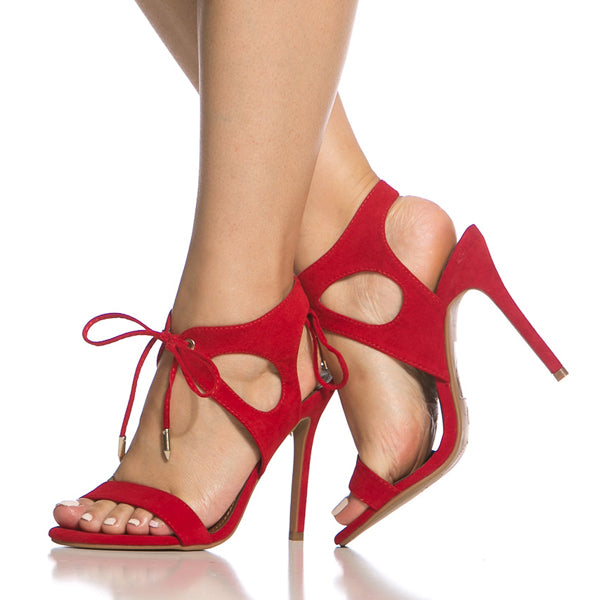 Red Faux Suede Cut Out Lace Up Single Sole Heels
