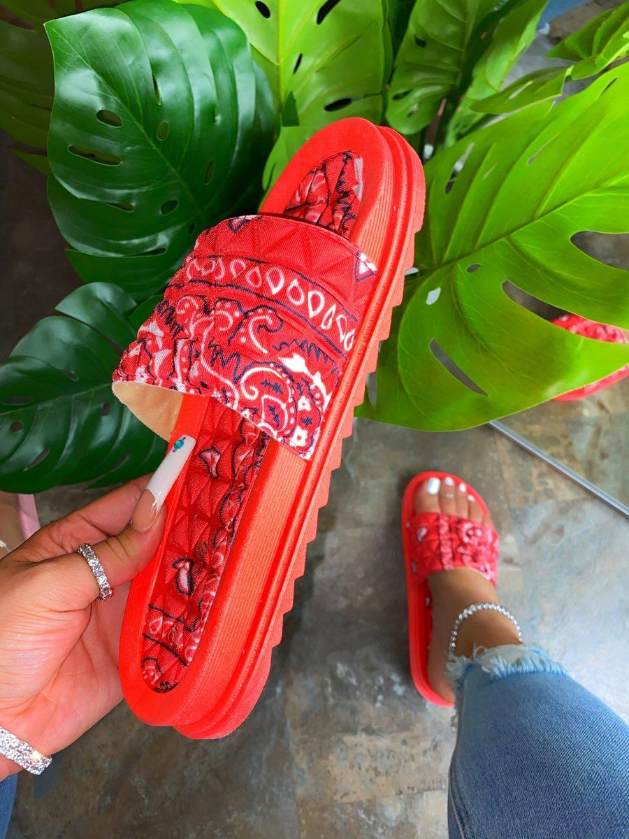 Antoinette Bandana Slides- Red - Atlanta Shoe Studio
