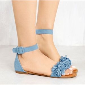 Blue fringed sandals