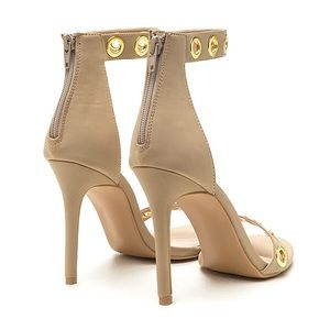 Cario Nude High Polish Metal Open Toe Heels