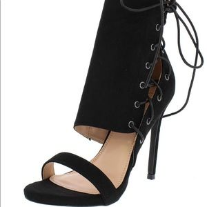 Sassy Black Suede Side Lace Up Heels