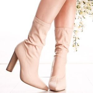 Connie Nude Pointy Toe Booties- Tan - Atlanta Shoe Studio