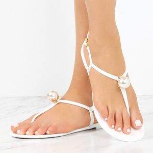 Peyton Pearl Drop Sandals- White