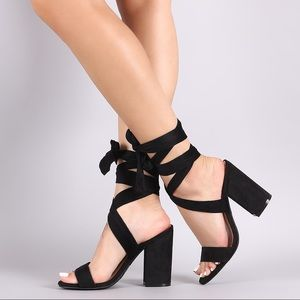 Wrapped Block Heels- Black