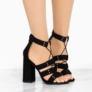 Black String up Block Heels. - Atlanta Shoe Studio
