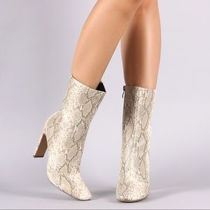 Kimberly Snake Skin Booties - Atlanta Shoe Studio