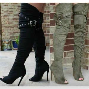 Asia OTK Thigh High Peep Toe Belted Stiletto Boots- Black - Atlanta Shoe Studio